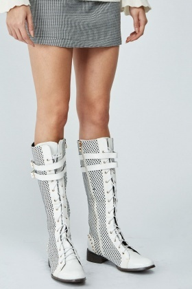 Star Studded Knee High Lace Up Boots