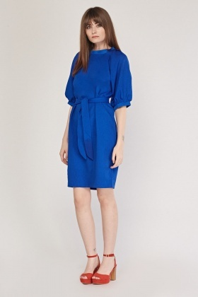 ac4e9c5c8185 Belted Midi Crinkled Dress