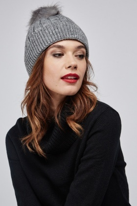Herringbone Knit Beanie Hat
