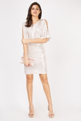 Metallic Batwing Sleeve Plisse Dress
