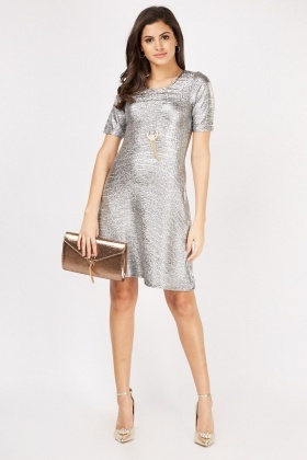 Metallic Textured Swing Dress