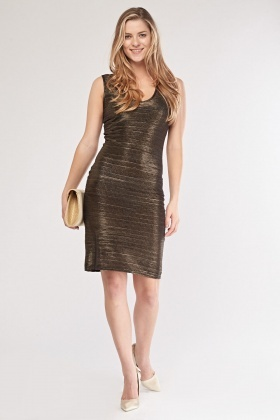 Pleated Metallic Bronze Midi Dress