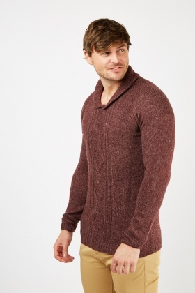 Ribbed Contrasted Chunky Knit Jumper