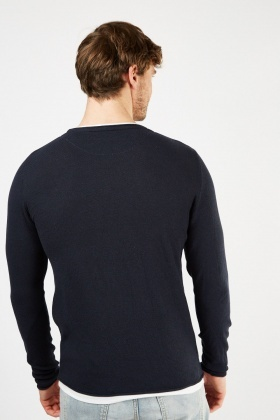 Round Neck Textured Jumper