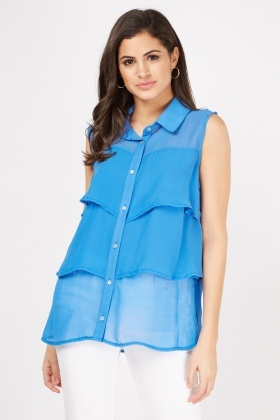 Sleeveless Sheer Tiered Blouse