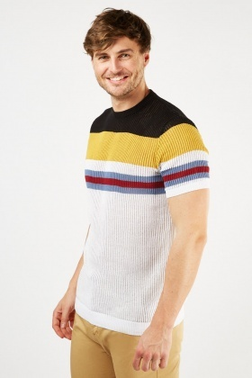 Striped Contrasted Ribbed T-Shirt