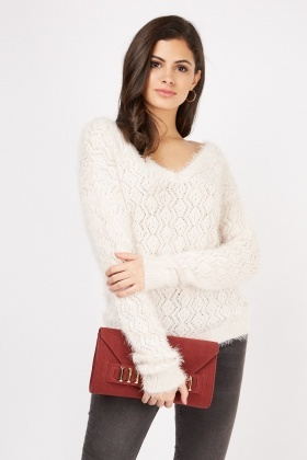 V-Neck Patterned Eyelash Knit Jumper