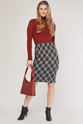 Argyle Print Pencil Skirt