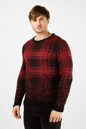 Checkered Chunky Knit Jumper