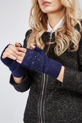 Encrusted Fingerless Mittens