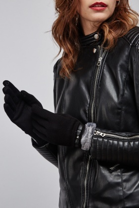 Faux Fur Contrasted Gloves