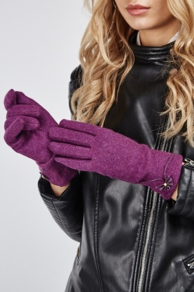 Faux Leather Bow Trim Gloves