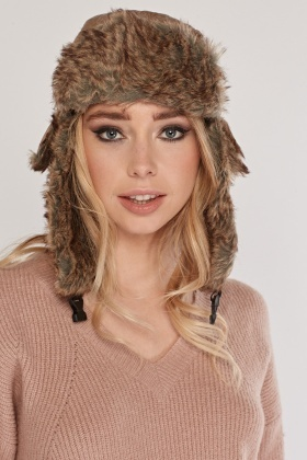Faux Leather/Fur Trapper Hat