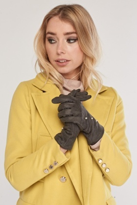 Faux Pearl Trim Suedette Gloves