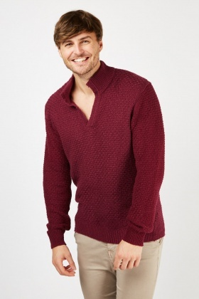 Knitted Weave Wine Jumper