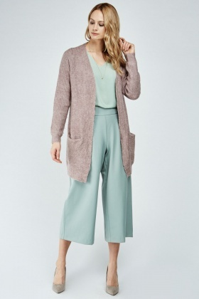 Mauve Pocket Front Long Cardigan