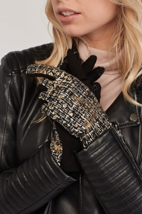 Metallic Butterfly Tweed Gloves