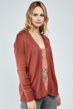 Plain Open Front Knit Cardigan