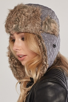 Quilted Contrast Trapper Hat