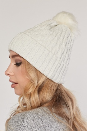 Shimmery Cable Knit Beanie Hat