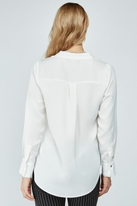 Slit Front Long Sleeve Blouse