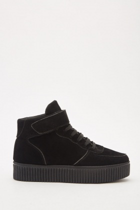 Black Lace Up High Top Trainers