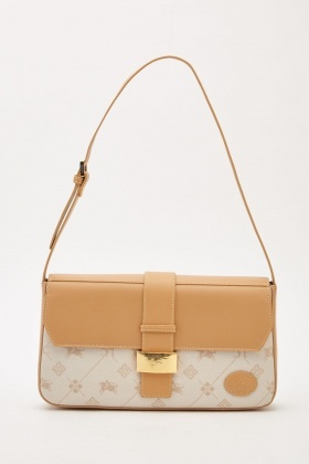Contrasted Mixed Print Baguette Bag
