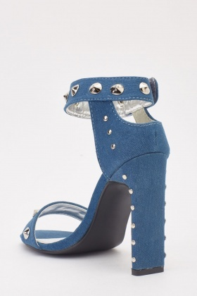 Denim Studded Block Heels