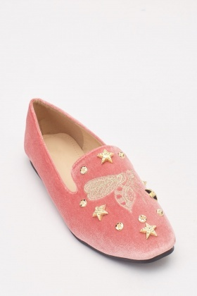 Embroidered Velveteen Loafers