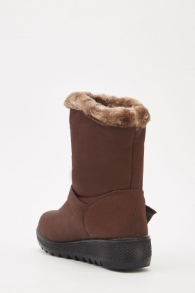 Fur Trim Buckle Winter Boots