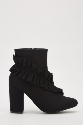 Suedette Frill Trim Ankle Boots