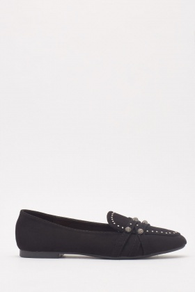Suedette Studded Detailed Loafers