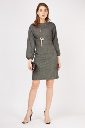 Bishop Sleeve Dotted Midi Dress