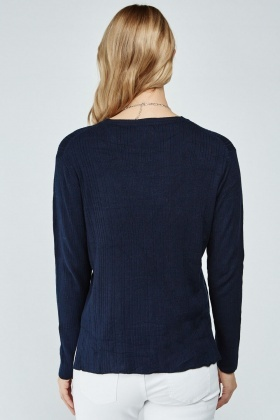 Casual Long Sleeve Ribbed Top