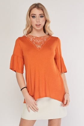 Crochet Trim Bell Sleeve Knit Top