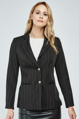 Double Breasted Pin-Striped Blazer