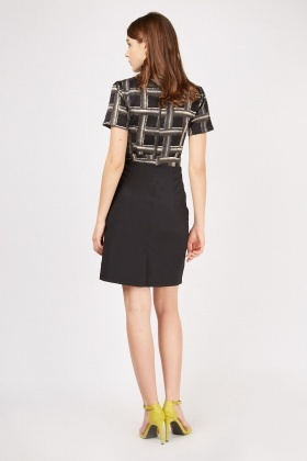 Faded Checkered Pencil Dress