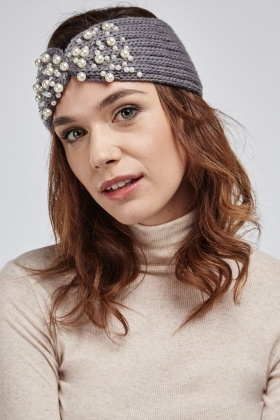 Faux Pearl Embellished Knitted Headband