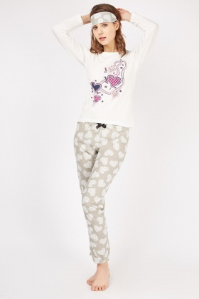 Heart Print Long Sleeve Pyjama Set