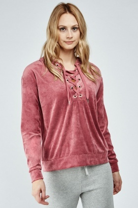 Lace Up Velour Hoodie