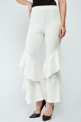 Layered Ruffle Sheer Trousers