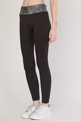 Mock Croc Print Panel Sports Leggings