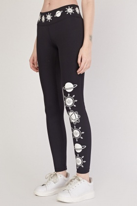 Planet Print Sports Leggings