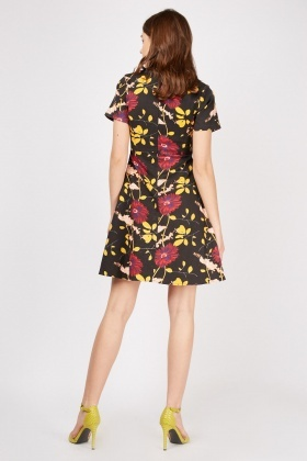 Short Sleeve Floral Print Skater Dress