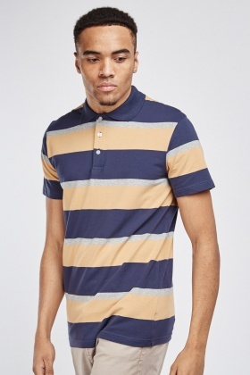 Striped Button Up Polo Shirt
