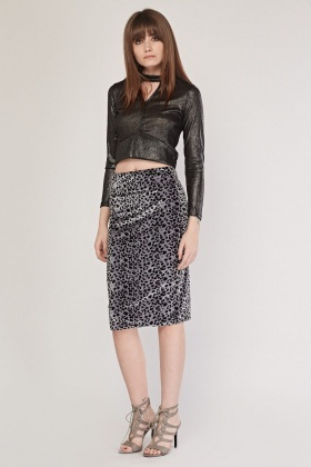 Animal Print Velveteen Midi Skirt