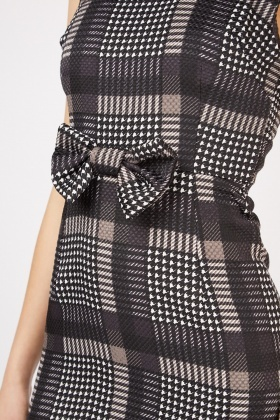 Bow Front Checkered A-Line Dress
