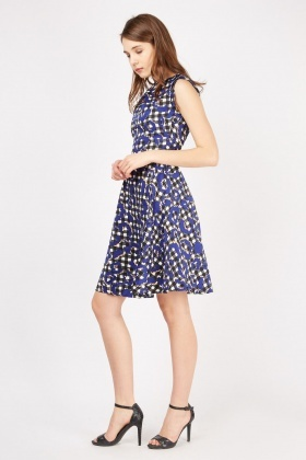 Contrasted Checkered A-Line Dress