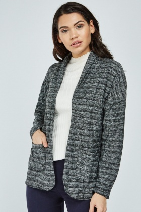 Draped Sheer Knit Cardigan