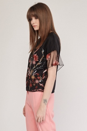 Mesh Overlay Floral Top